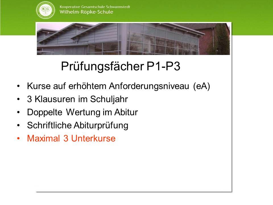 Prüfungsfächer P1-P3 Kurse auf erhöhtem Anforderungsniveau (eA)