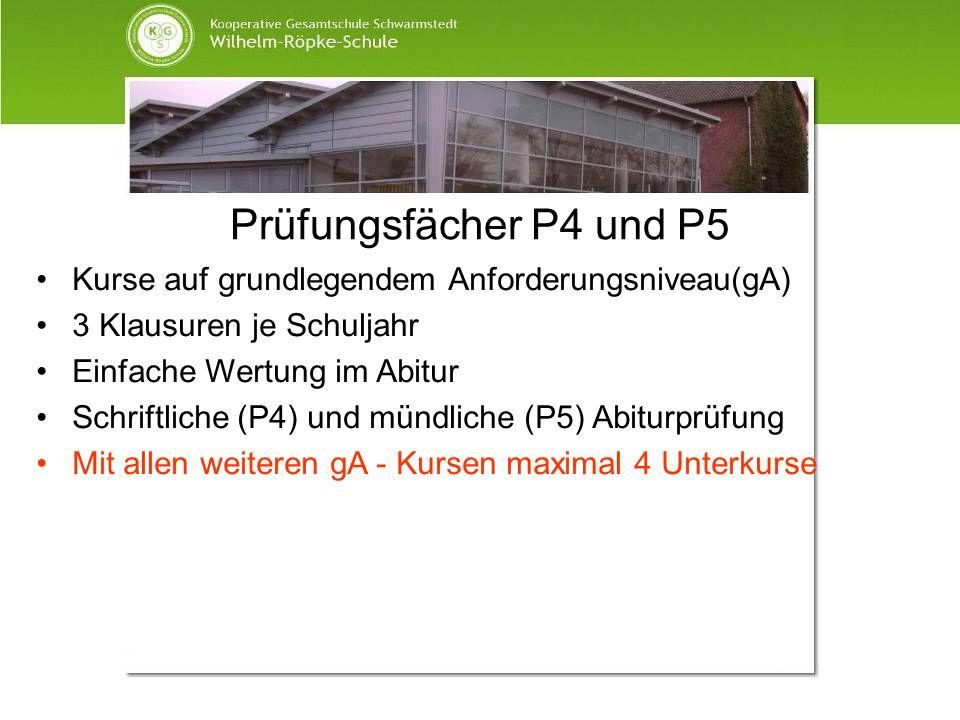 Prüfungsfächer P4 und P5 Kurse auf grundlegendem Anforderungsniveau(gA) 3 Klausuren je Schuljahr. Einfache Wertung im Abitur.