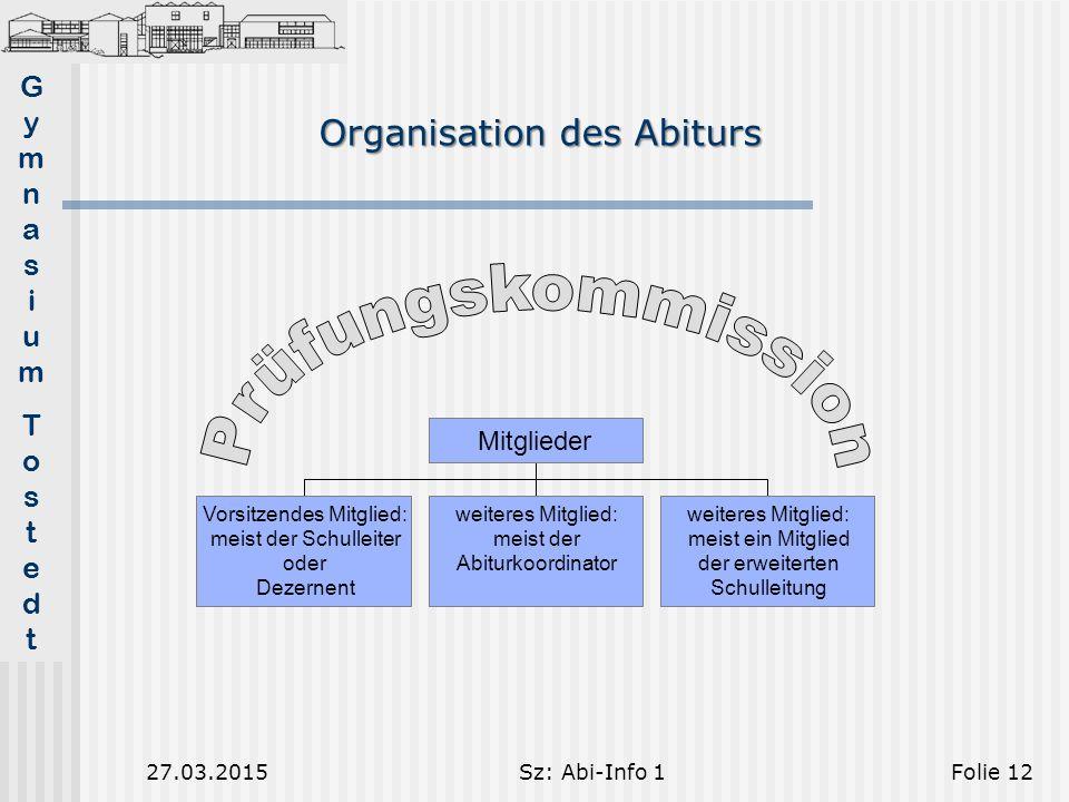 Prüfungskommission Organisation des Abiturs Mitglieder