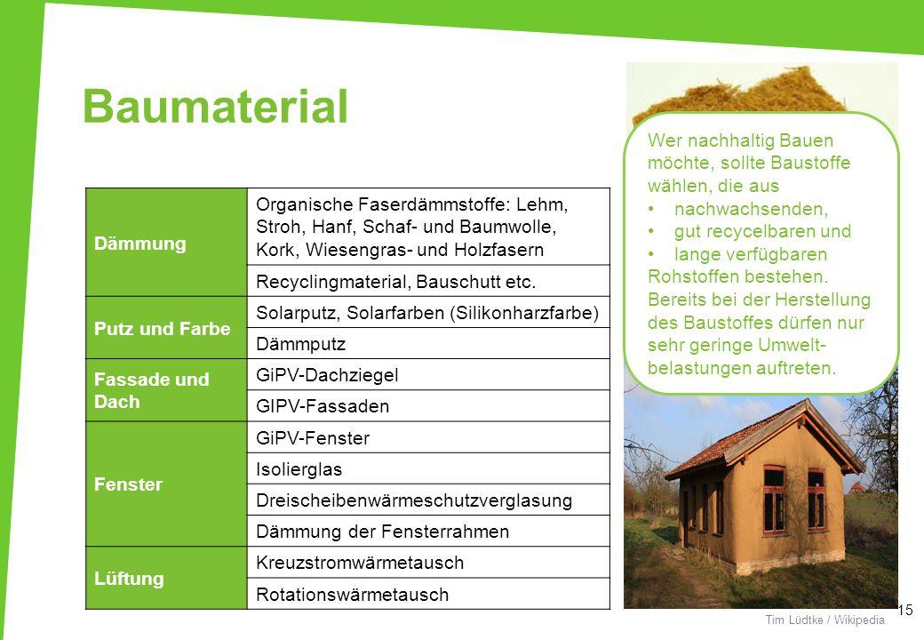 Baumaterial Wer nachhaltig Bauen möchte, sollte Baustoffe wählen, die aus. nachwachsenden, gut recycelbaren und.
