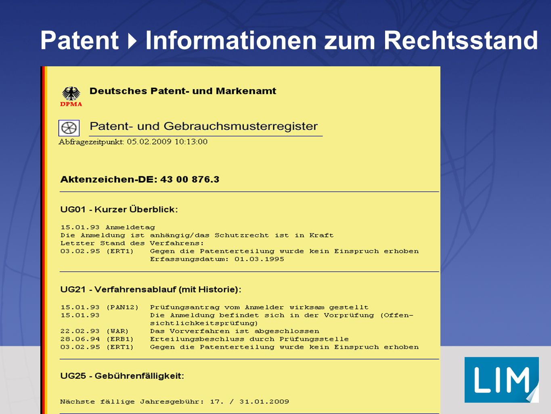 PatentInformationen zum Rechtsstand