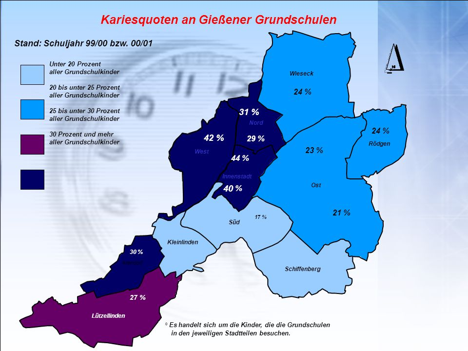 Kariesquoten an Gießener Grundschulen