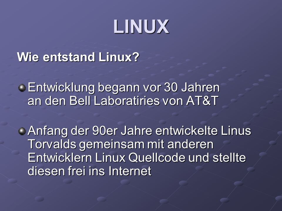 LINUX Wie entstand Linux