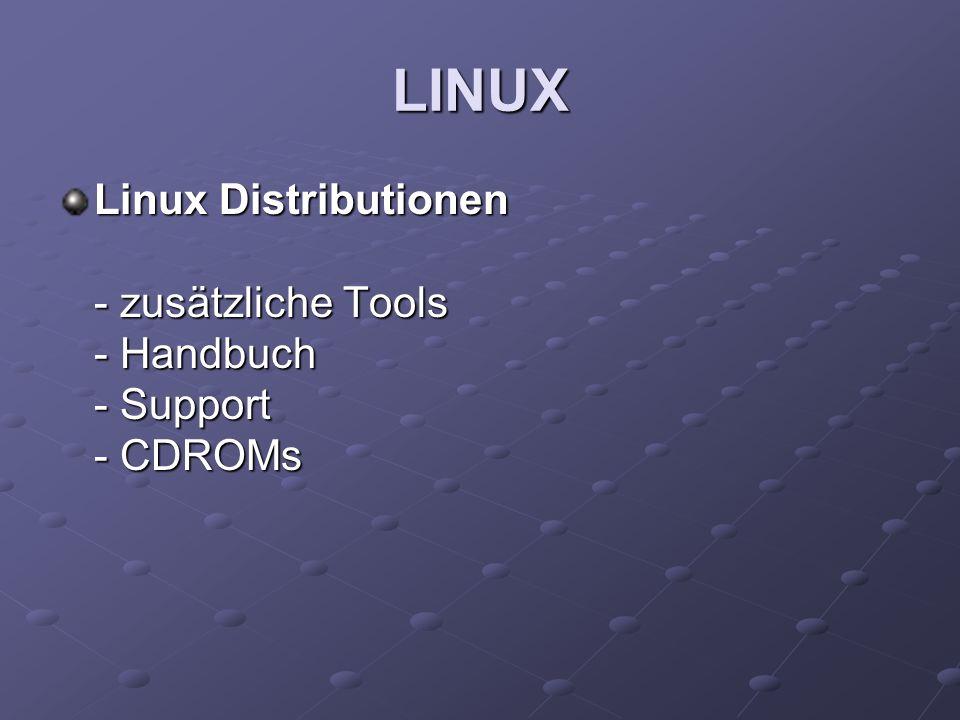 LINUX Linux Distributionen - zusätzliche Tools - Handbuch - Support - CDROMs