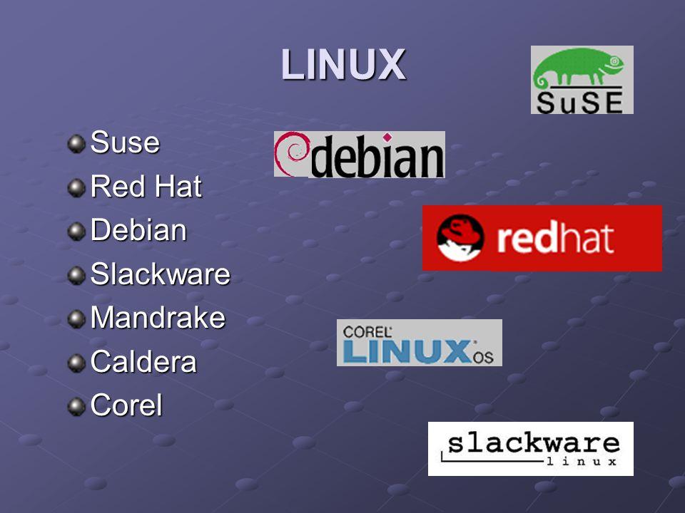 LINUX Suse Red Hat Debian Slackware Mandrake Caldera Corel