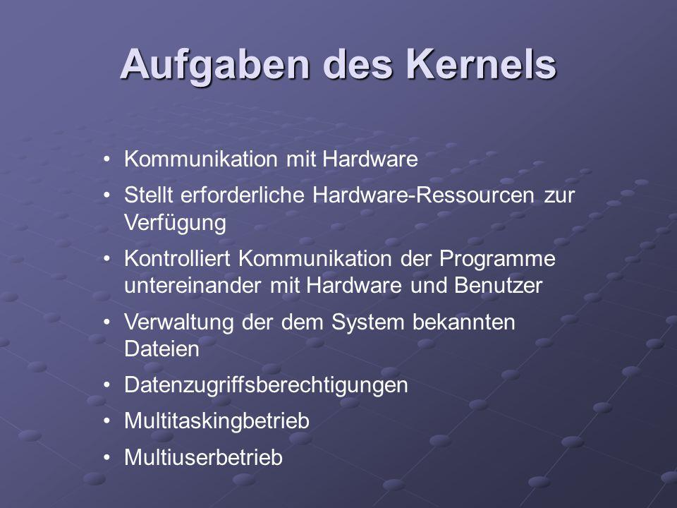 Aufgaben des Kernels Kommunikation mit Hardware