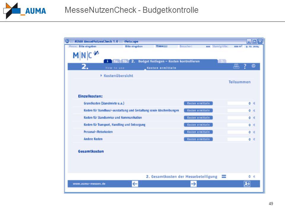 MesseNutzenCheck - Budgetkontrolle