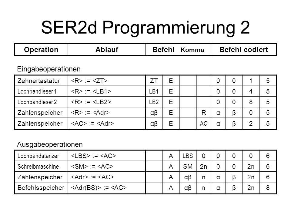SER2d Programmierung 2 Operation Ablauf Befehl Komma Befehl codiert