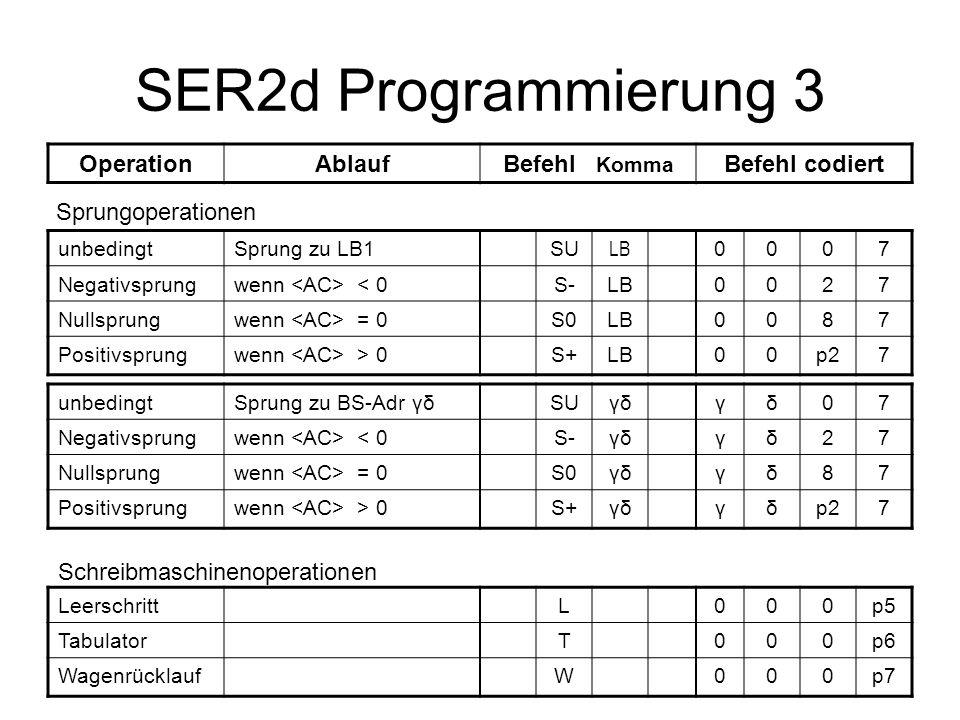 SER2d Programmierung 3 Operation Ablauf Befehl Komma Befehl codiert