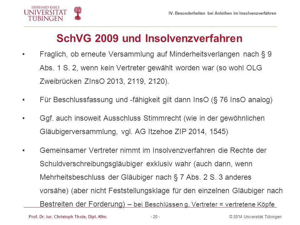 SchVG 2009 und Insolvenzverfahren