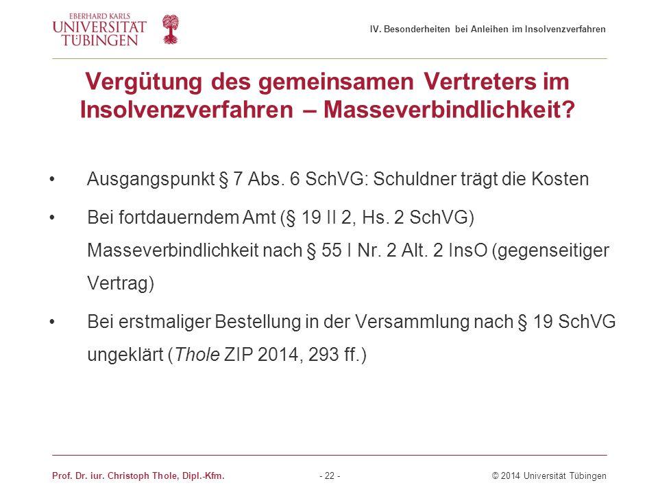 IV. Besonderheiten bei Anleihen im Insolvenzverfahren