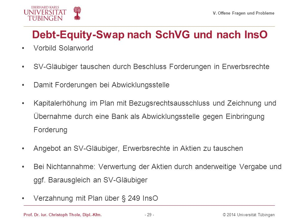 Debt-Equity-Swap nach SchVG und nach InsO
