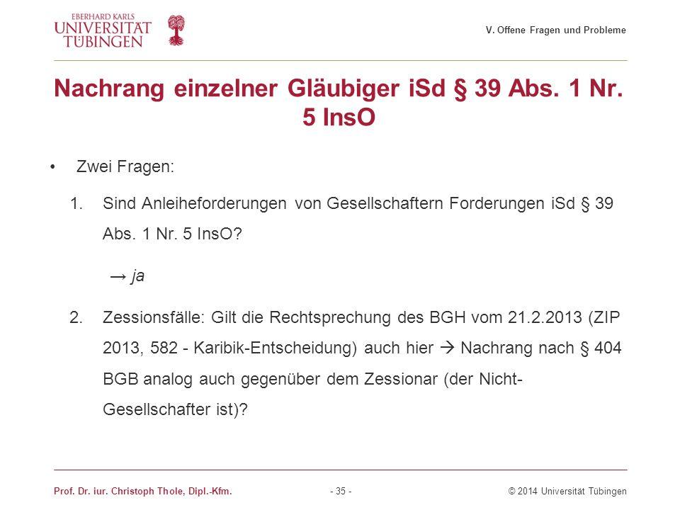 Nachrang einzelner Gläubiger iSd § 39 Abs. 1 Nr. 5 InsO