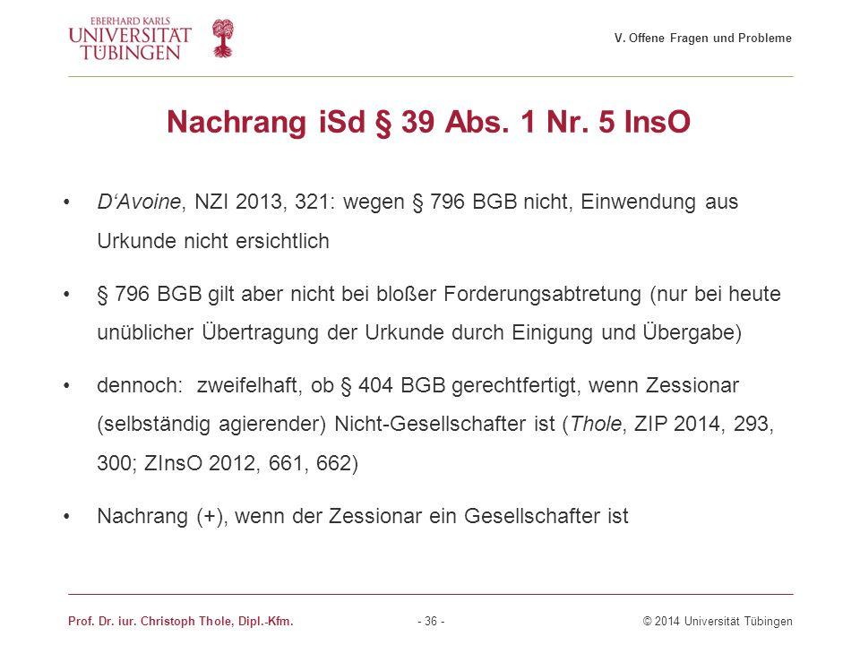 Nachrang iSd § 39 Abs. 1 Nr. 5 InsO