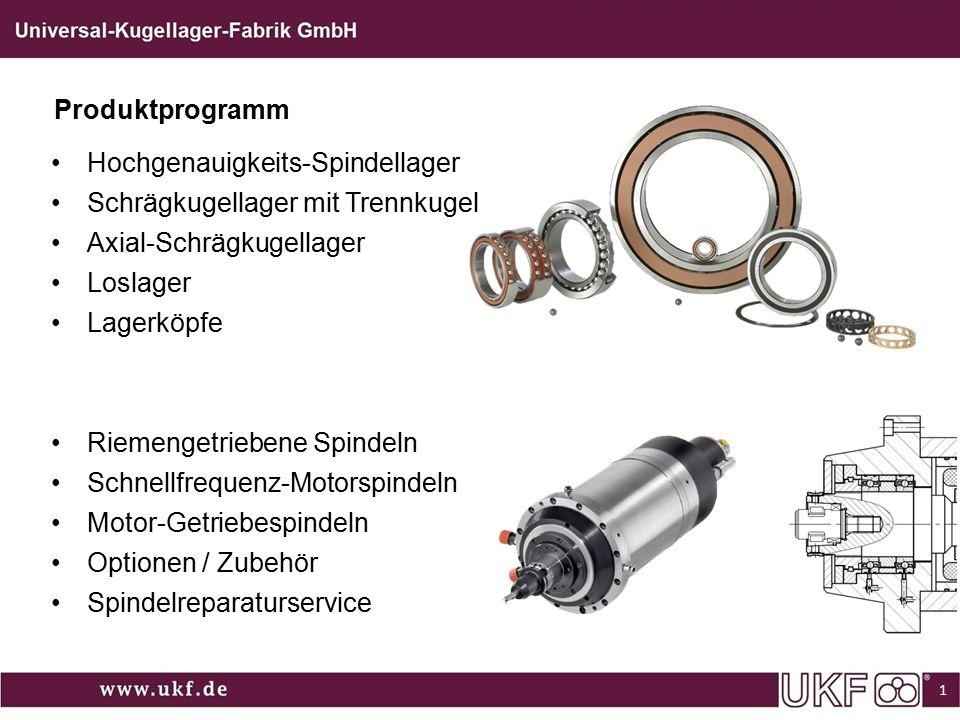 Produktprogramm Hochgenauigkeits-Spindellager. Schrägkugellager mit Trennkugel. Axial-Schrägkugellager.