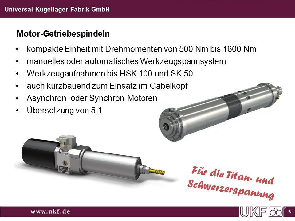 Für die Titan- und Schwerzerspanung Motor-Getriebespindeln