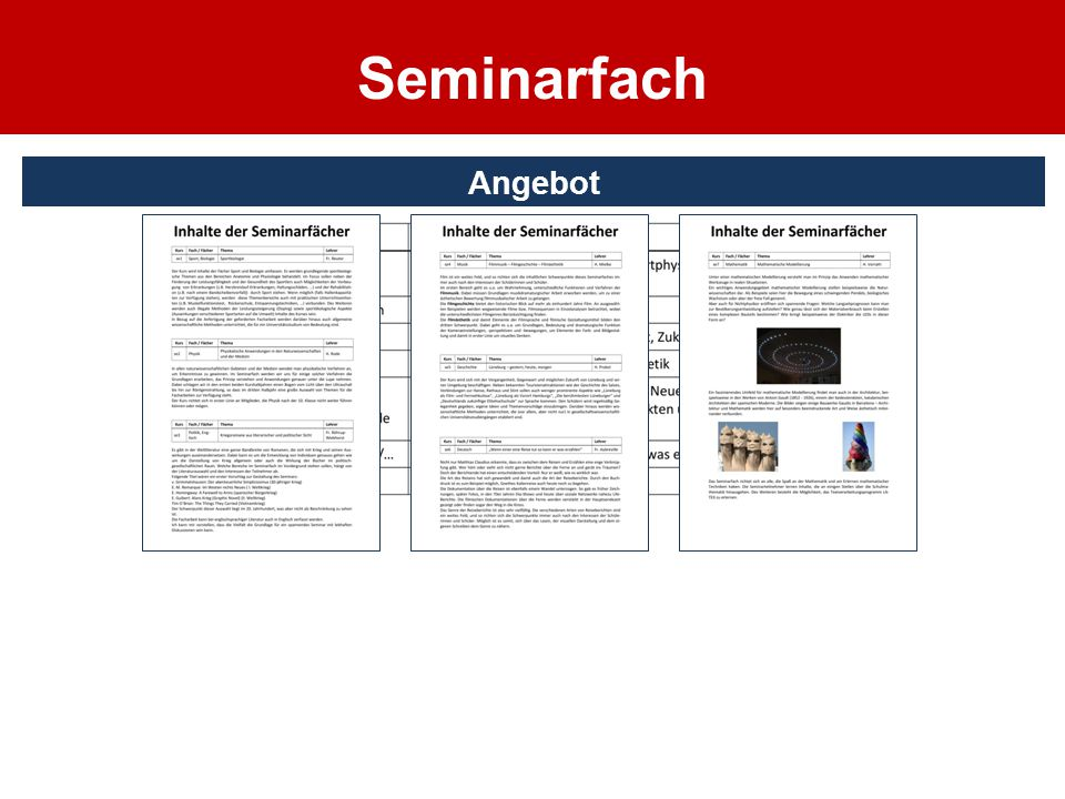 Seminarfach Angebot
