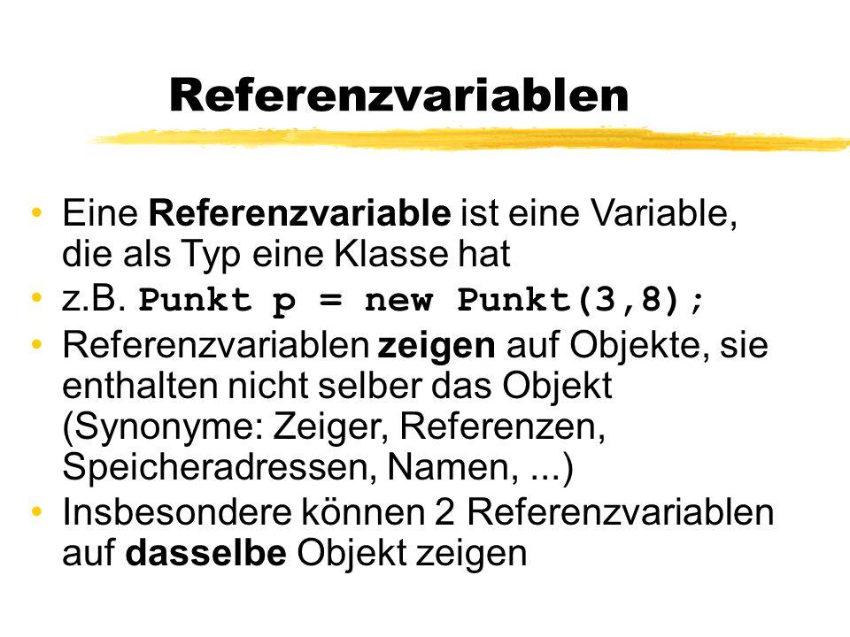 Referenzvariablen Eine Referenzvariable ist eine Variable, die als Typ eine Klasse hat. z.B. Punkt p = new Punkt(3,8);