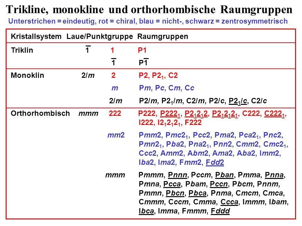 Trikline, monokline und orthorhombische Raumgruppen