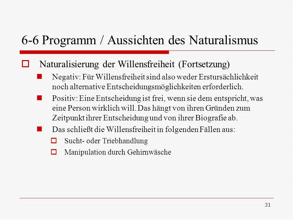6-6 Programm / Aussichten des Naturalismus