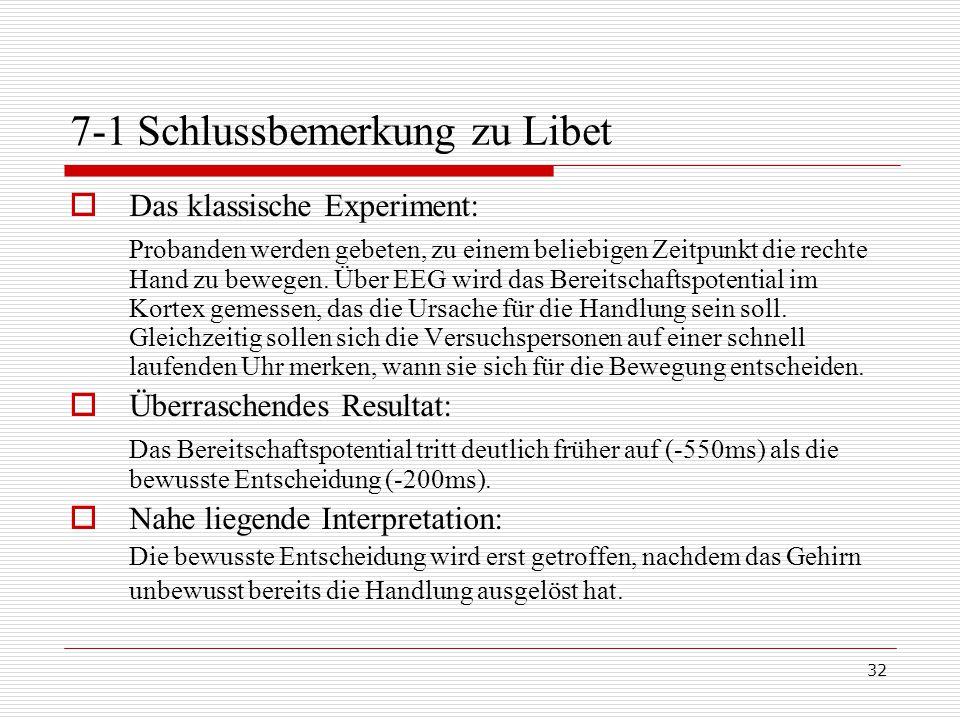 7-1 Schlussbemerkung zu Libet