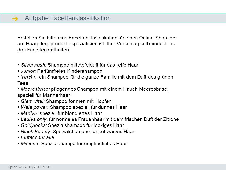  Aufgabe Facettenklassifikation
