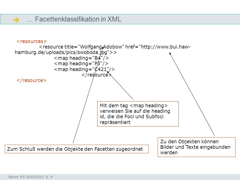  … Facettenklassifikation in XML <resources>
