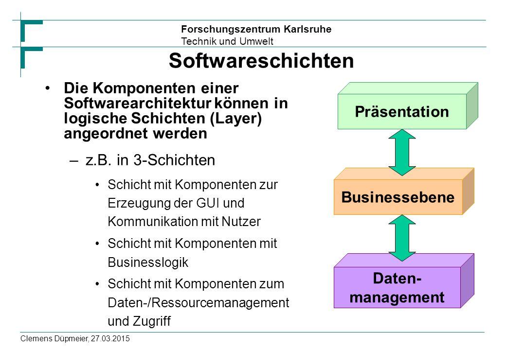 Softwareschichten Die Komponenten einer Softwarearchitektur können in logische Schichten (Layer) angeordnet werden.