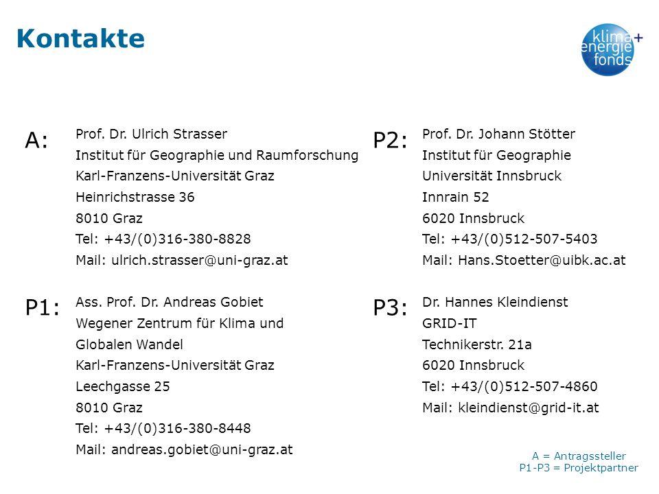 Kontakte A: P2: P1: P3: Prof. Dr. Ulrich Strasser