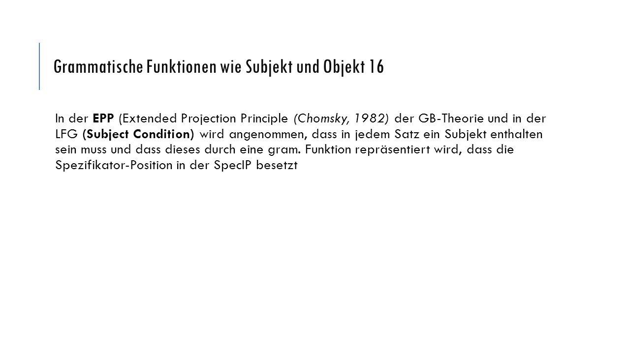 Grammatische Funktionen wie Subjekt und Objekt 16