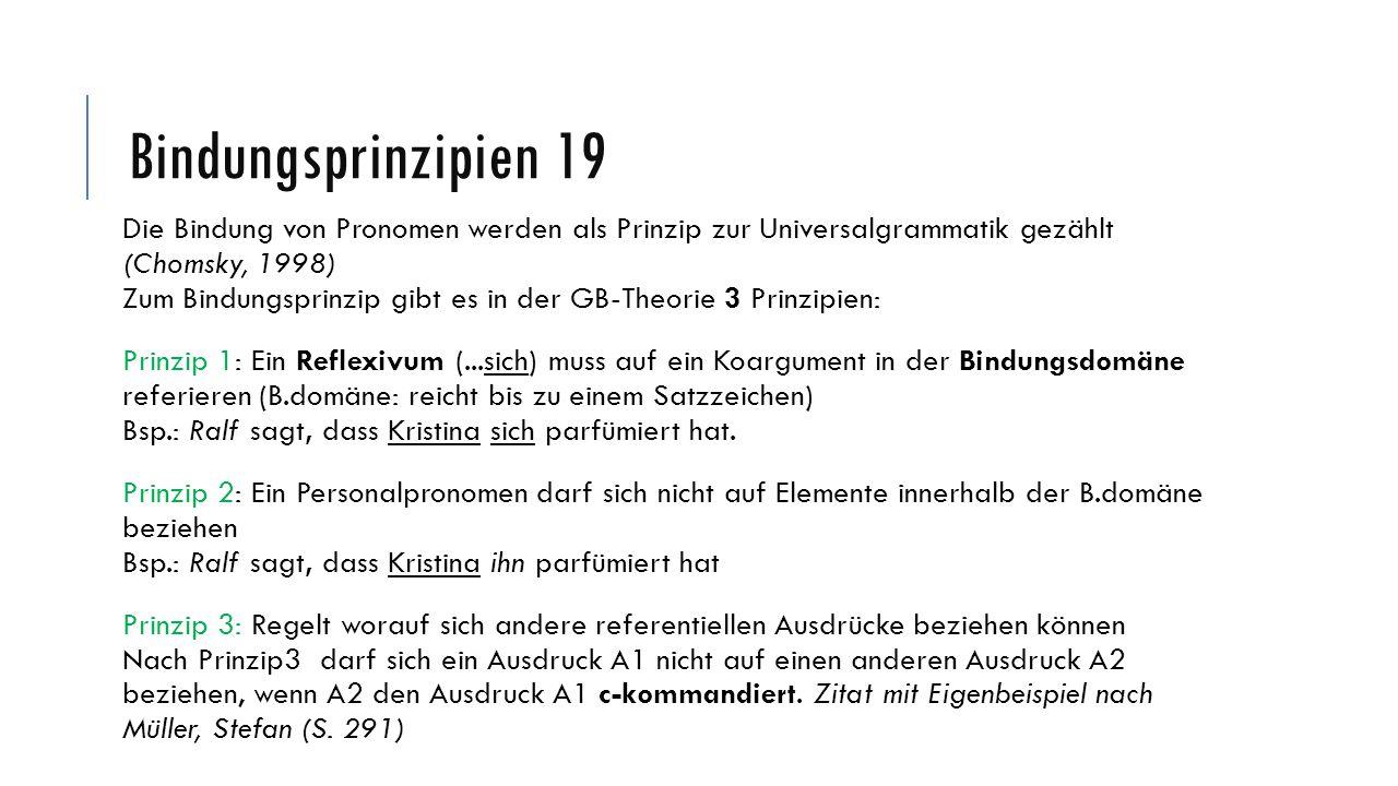 Bindungsprinzipien 19 Die Bindung von Pronomen werden als Prinzip zur Universalgrammatik gezählt (Chomsky, 1998)