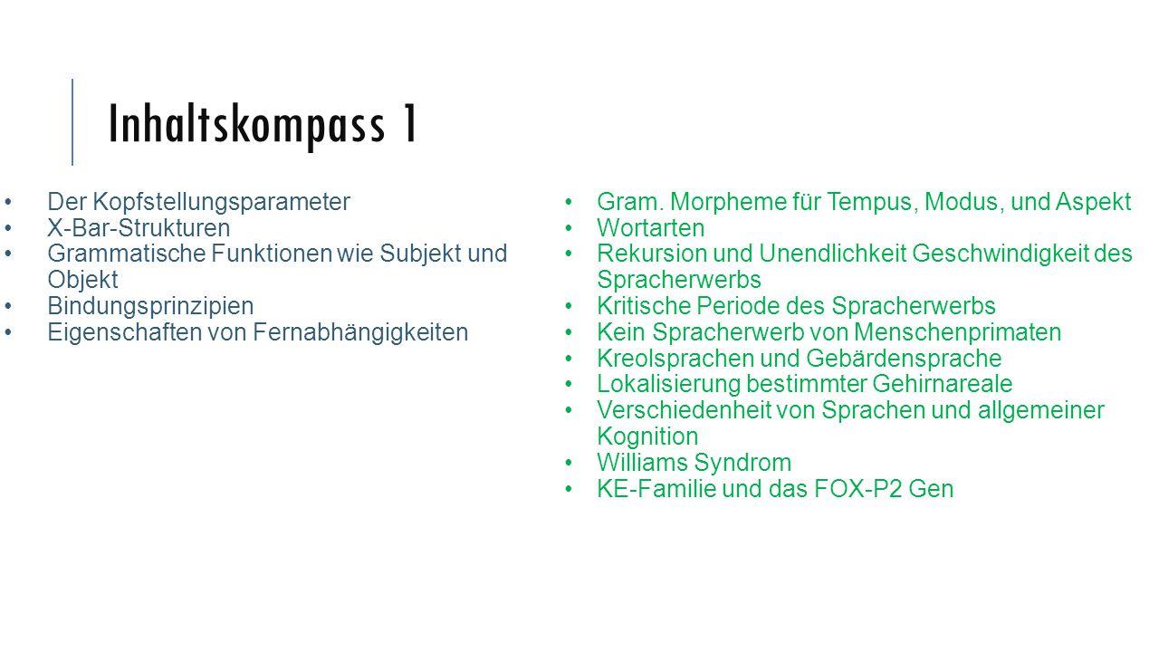 Inhaltskompass 1 Der Kopfstellungsparameter X-Bar-Strukturen