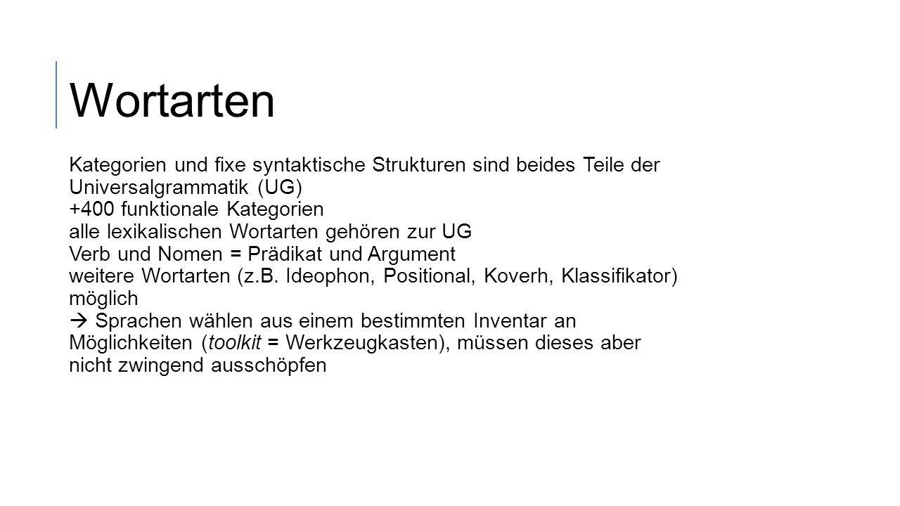 Wortarten Kategorien und fixe syntaktische Strukturen sind beides Teile der Universalgrammatik (UG)