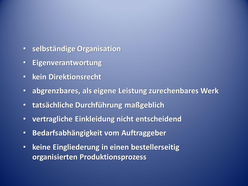 selbständige Organisation