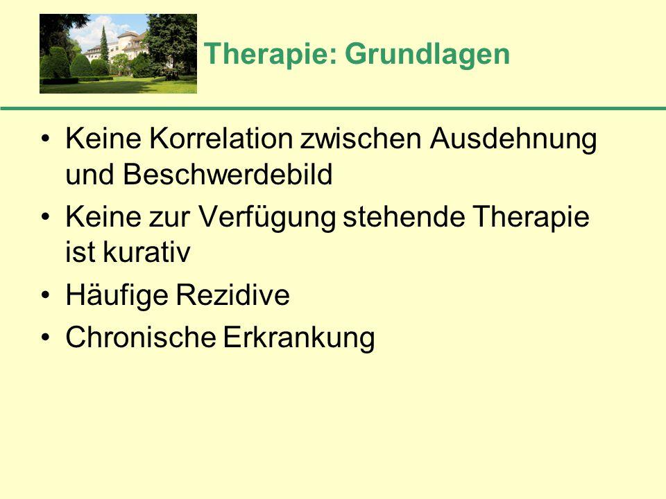 Therapie: Grundlagen Keine Korrelation zwischen Ausdehnung und Beschwerdebild. Keine zur Verfügung stehende Therapie ist kurativ.