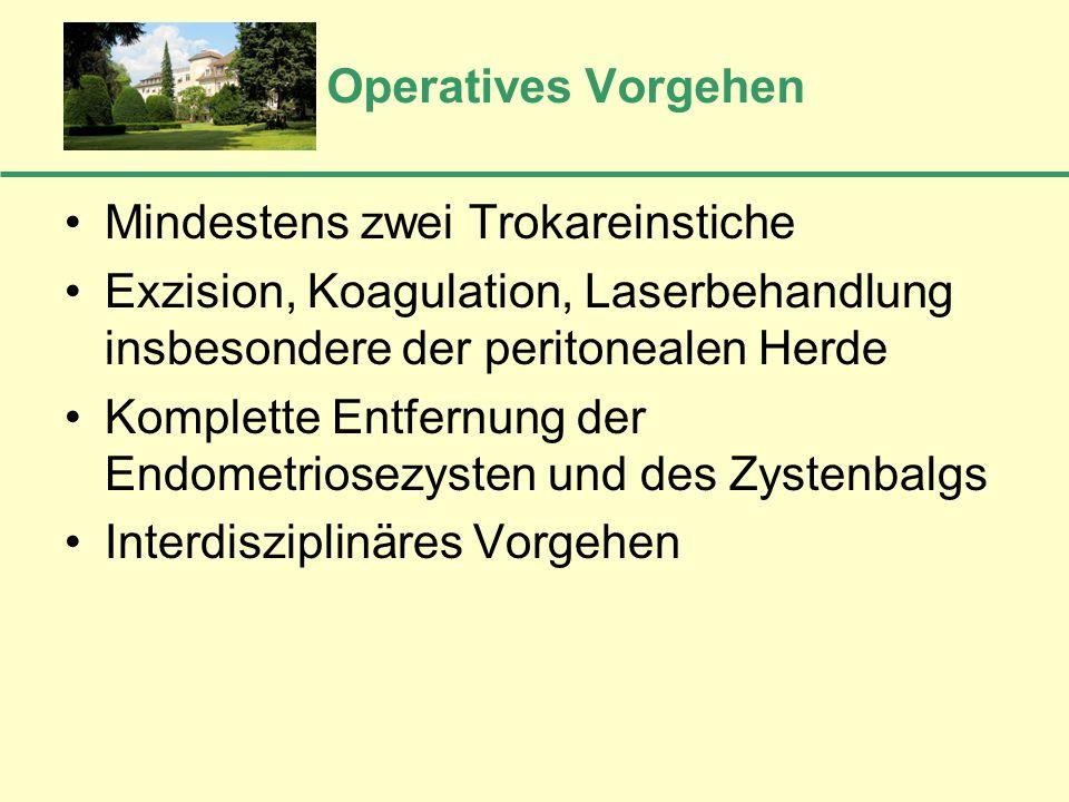 Operatives Vorgehen Mindestens zwei Trokareinstiche. Exzision, Koagulation, Laserbehandlung insbesondere der peritonealen Herde.