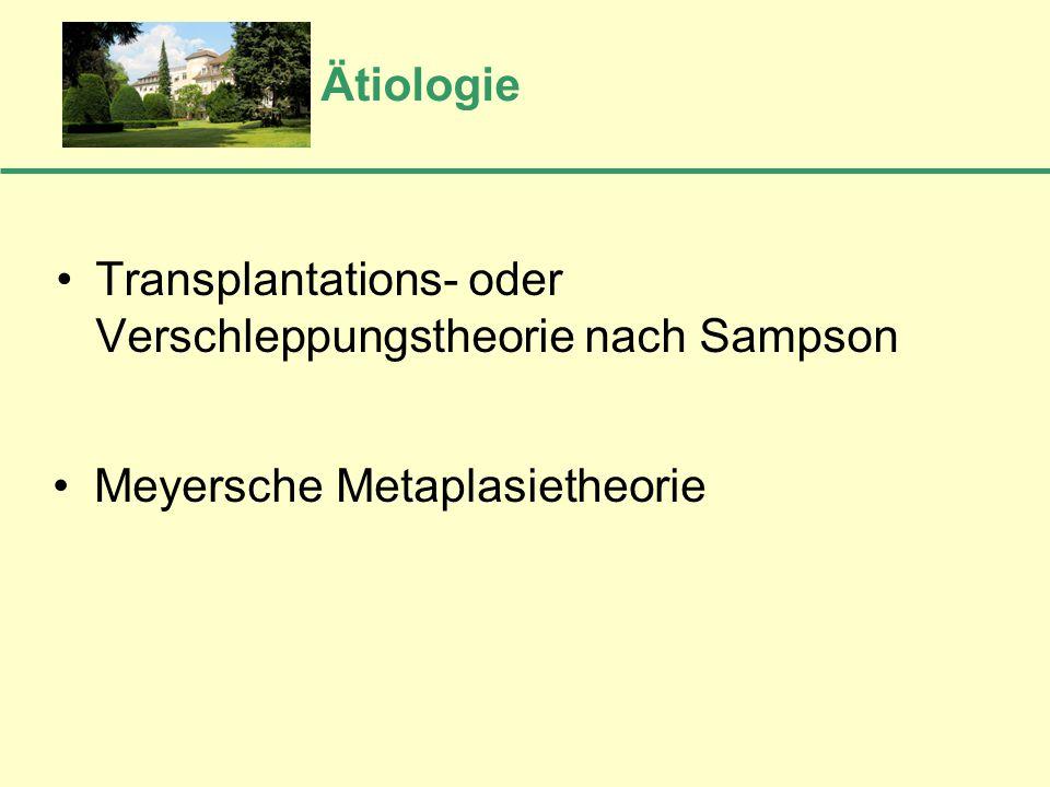 Ätiologie Transplantations- oder Verschleppungstheorie nach Sampson • Meyersche Metaplasietheorie