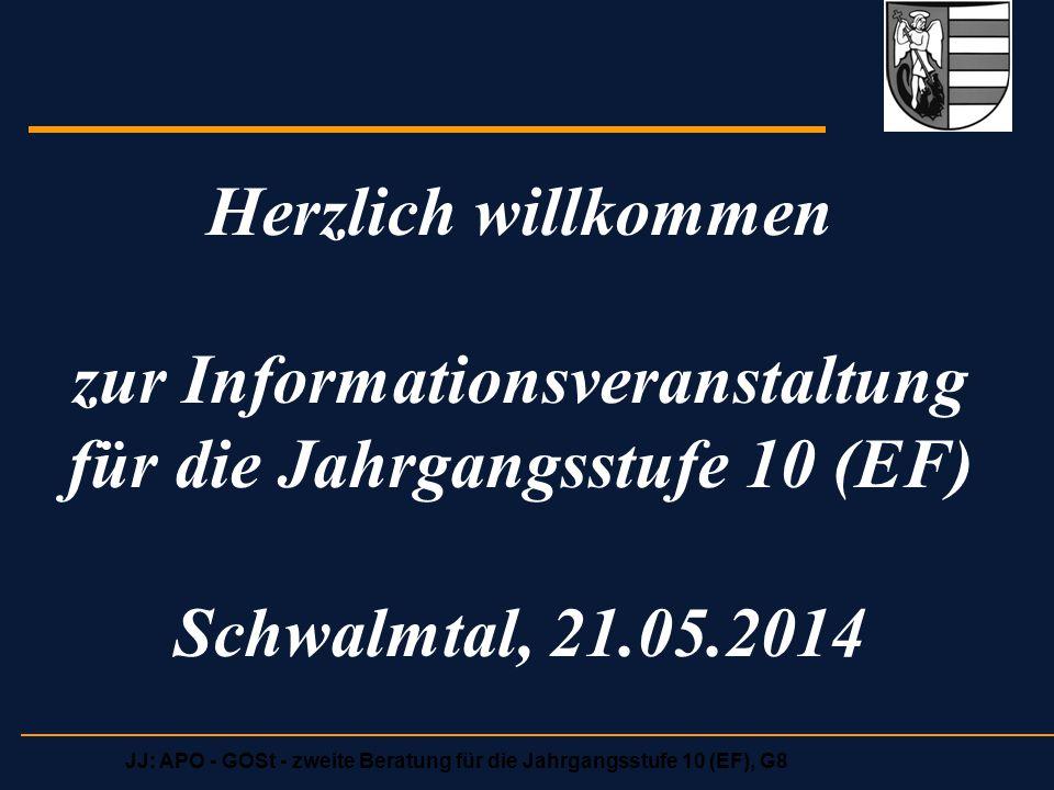 Herzlich willkommen zur Informationsveranstaltung für die Jahrgangsstufe 10 (EF) Schwalmtal, 21.05.2014