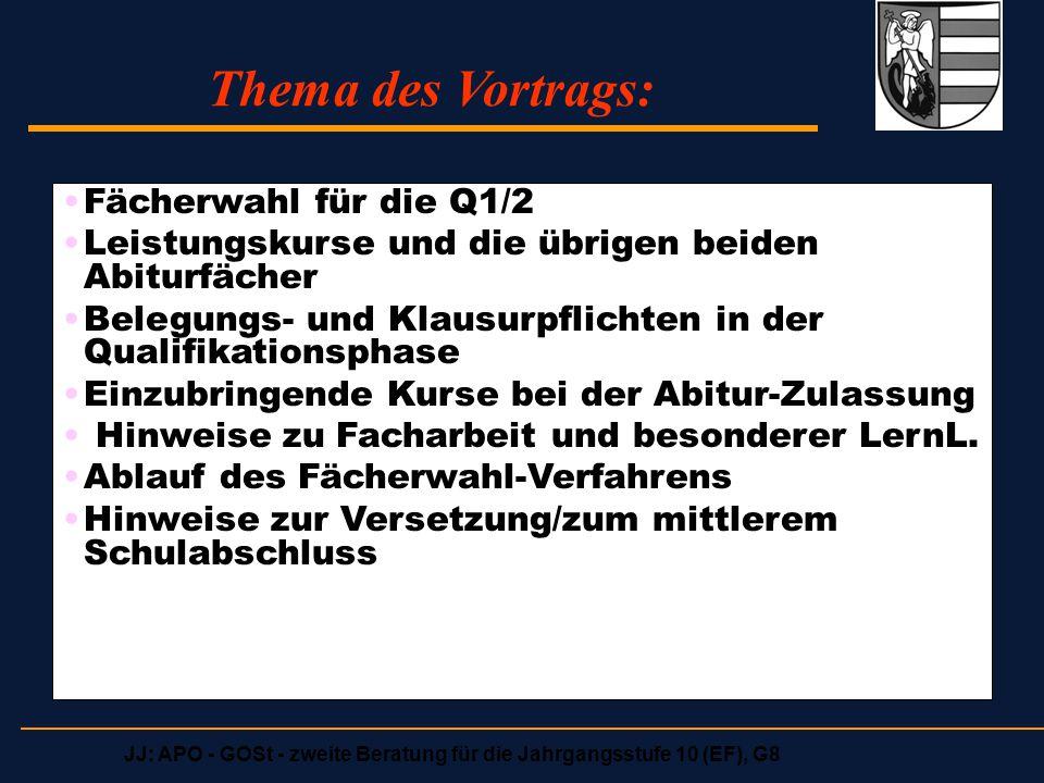 Thema des Vortrags: Fächerwahl für die Q1/2