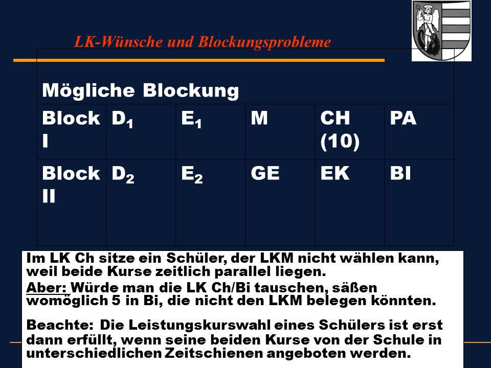 LK-Wünsche und Blockungsprobleme