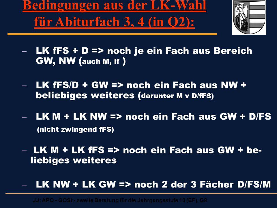 Bedingungen aus der LK-Wahl für Abiturfach 3, 4 (in Q2):