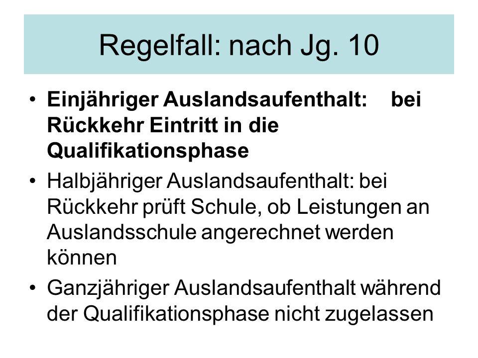 Regelfall: nach Jg. 10 Einjähriger Auslandsaufenthalt: bei Rückkehr Eintritt in die Qualifikationsphase.