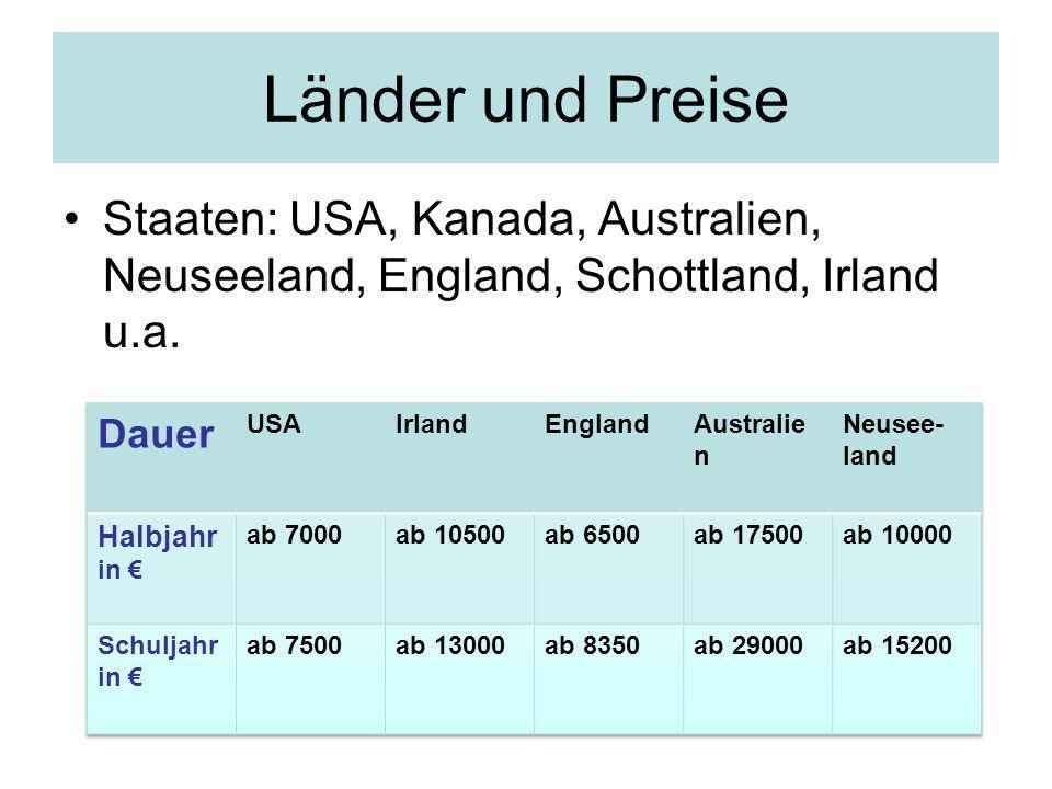 Länder und Preise Staaten: USA, Kanada, Australien, Neuseeland, England, Schottland, Irland u.a. Dauer.