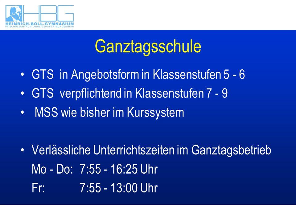 Ganztagsschule GTS in Angebotsform in Klassenstufen 5 - 6