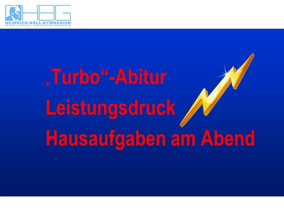 """""""Turbo -Abitur Leistungsdruck Hausaufgaben am Abend"""