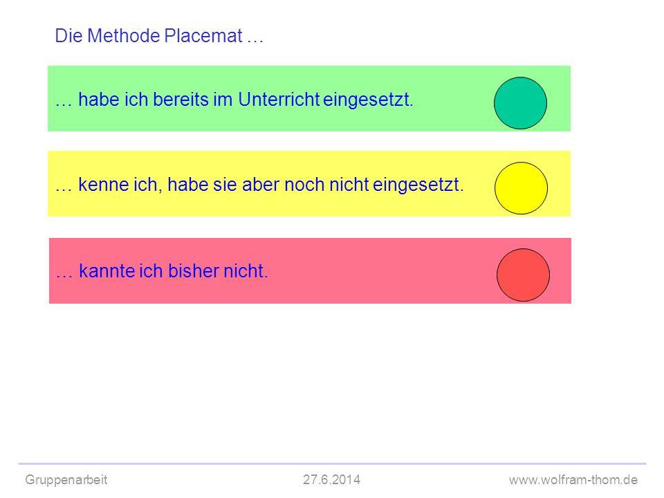 Die Methode Placemat … … habe ich bereits im Unterricht eingesetzt. … kenne ich, habe sie aber noch nicht eingesetzt.