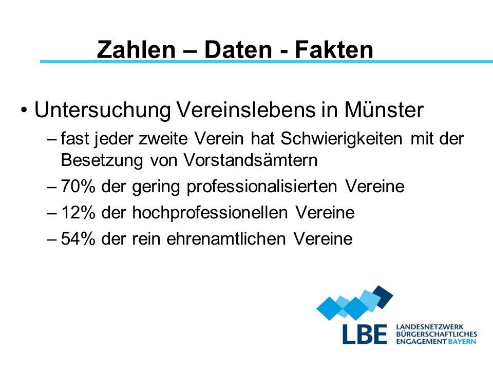 Zahlen – Daten - Fakten Untersuchung Vereinslebens in Münster