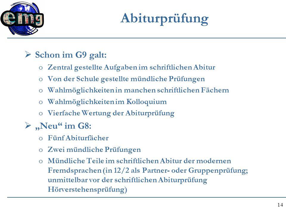 """Abiturprüfung Schon im G9 galt: """"Neu im G8:"""