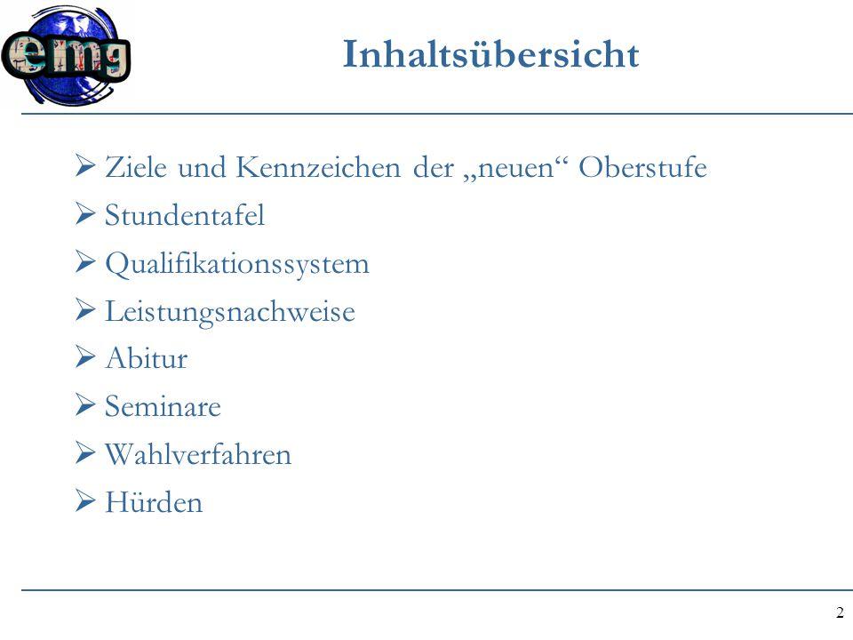 """Inhaltsübersicht Ziele und Kennzeichen der """"neuen Oberstufe"""