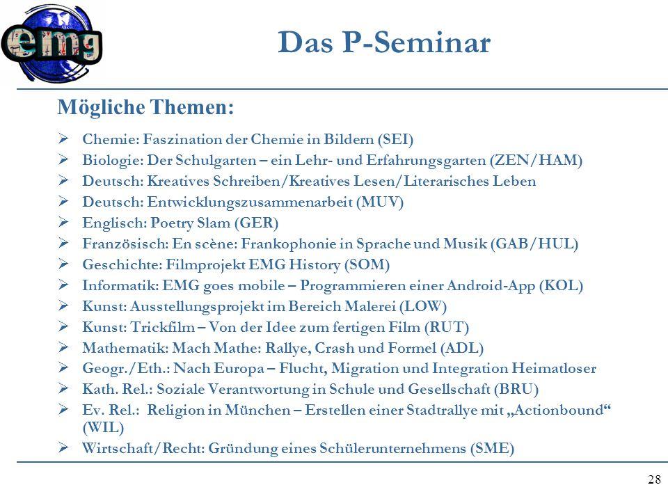 Das P-Seminar Mögliche Themen: